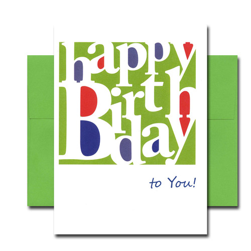 "Boxed Business Birthday Note Card - Simply Stated Cover has the words ""Happy Birthday"" in white text on a green background followed by the words ""to You!"" in blue text on white background."