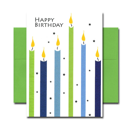 "Boxed Business Birthday Note Card - Sky High Candles Cover has the words ""Happy Birthday"" in blue hovering above 6 brightly colored tall candles"