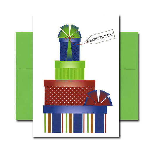 "Boxed Business Birthday Note Card- Party Presents Cover shows 4 wrapped boxes stacked up with the words ""Happy Birthday"""