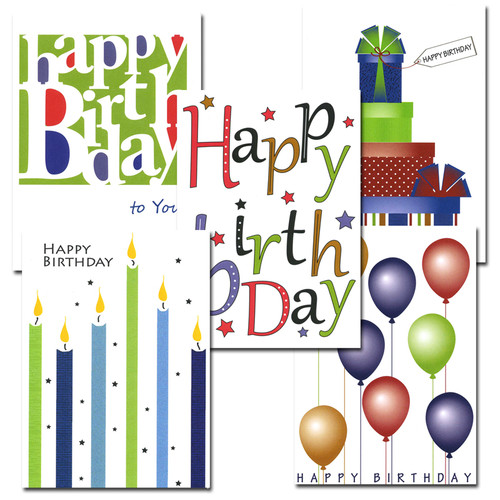 "Boxed Business Birthday Note Card Assortment Covers of each of the 5 note cards in the business birthday note card assortment, each with the words ""Happy birthday"" in bright letters with different illustration"
