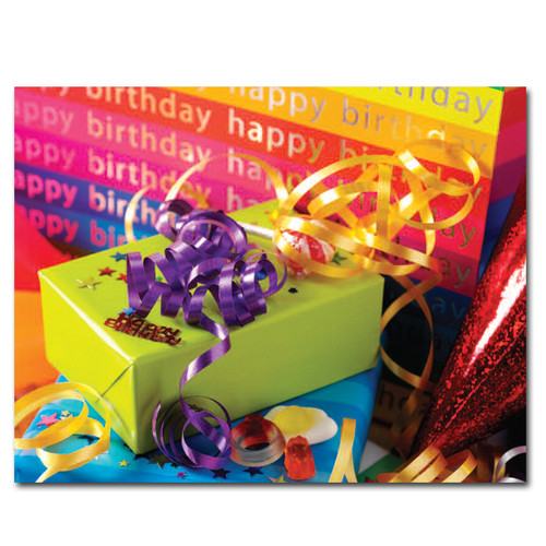 "Birthday Postcard Gift Gala is a photo of a green gift box with the words ""Happy Birthday"" in the background."