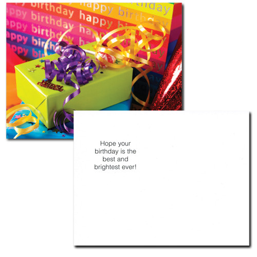 "Birthday Postcard ""Gift Gala"" flip side has the words ""Hope your birthday is the best and brightest ever!"".  There is also space for addressing and to wish happy birthday to the school student, business or corporate recipient of the postcard."