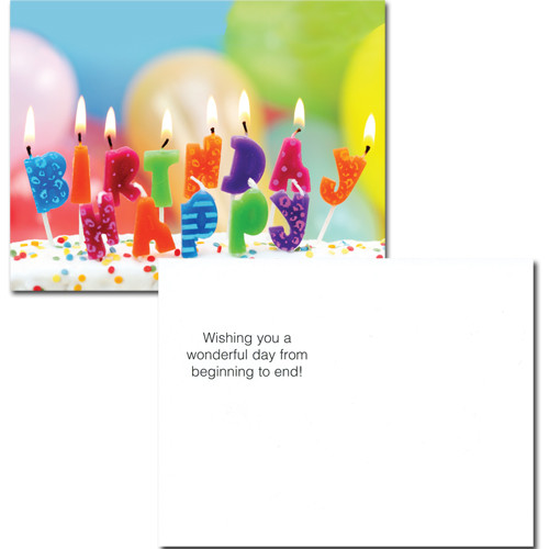 "Birthday Postcard - ""Lighted Letters"" reverse side of the postcard has the words ""Wishing you a wonderful day from beginning to end"".  There is also room for name and address and to write a personal happy birthday wish for a business, corporate or school student relationship."