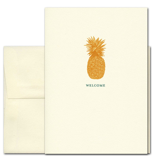 "Welcome Card - Pineapple has a vintage illustration of a gold pineapple and the word ""Welcome"""