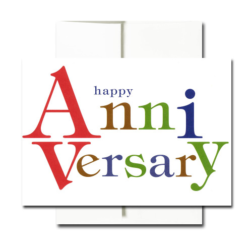 "Anniversary Letters Anniversary Note Card cover has the words ""Happy Anniversary"" set in colorful bold type"