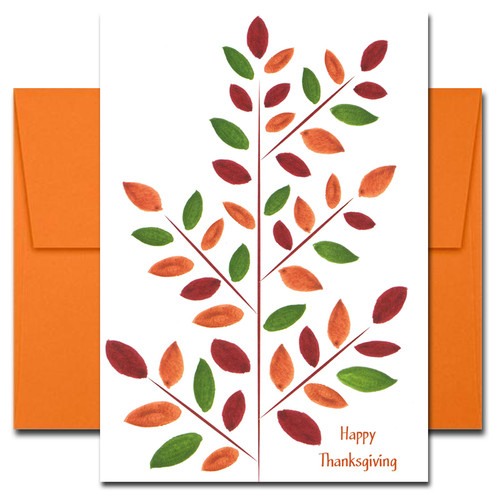 Cover of Thanksgiving Card - Brilliant Branch shows hand painted leaves in deep orange, green and scarlet