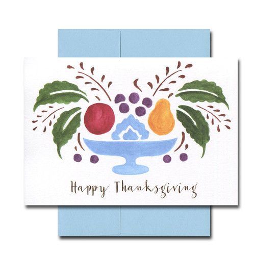 Centerpiece Thanksgiving Note Card cover has watercolor illustration of fruit and greens centerpiece and the words Happy Thanksgiving