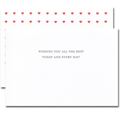 "Inside of Valentine card - Every Day - showing the words ""Wishing you all the best today and every day!"" in black lettering on a white background"
