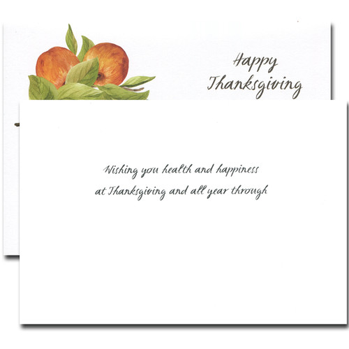 Health and Happiness Thanksgiving card inside reads: Wishing you health and happiness at Thanksgiving and all year through