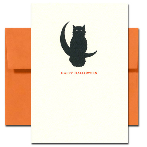 Cover of Wise Bird Halloween card shows silhouette of owl sitting on quarter moon
