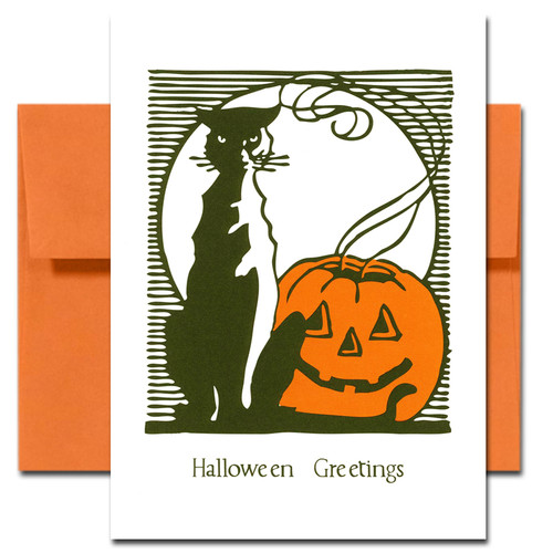 Cover of Halloween Card - Lights Out showing a black cat and jack-o-lantern with its candle gone out set against a white moon