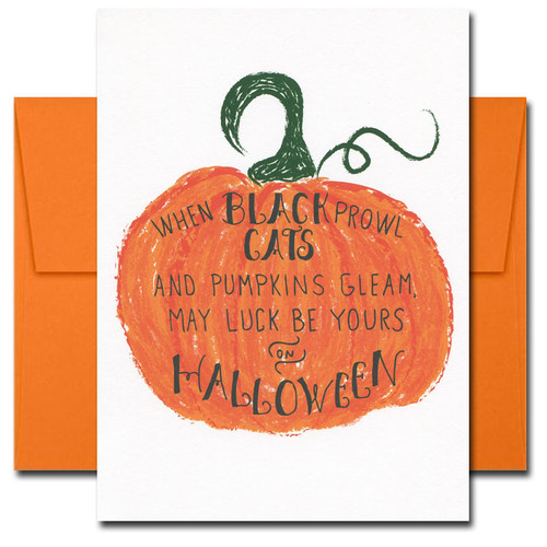 Cover of Halloween Card Luck. Bright orange pumpkin and the hand-lettered words, When black cats prowl and pumpkins gleam, may luck be yours on Halloween.