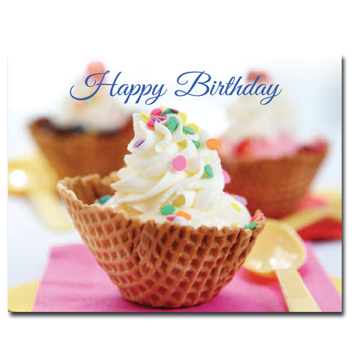 Birthday Postcard: Ice Cream Dessert shows a waffle cone bowl filled with ice cream topped with confetti