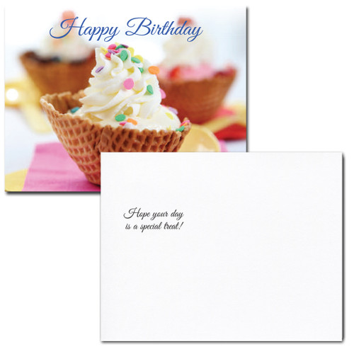 Birthday Postcard: Ice Cream Dessert message reads, Hope your day is a special treat!