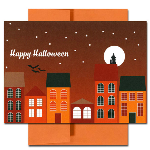 Halloween Card: Rooftops. Witch and cat sitting on roof with starry sky and bright moon