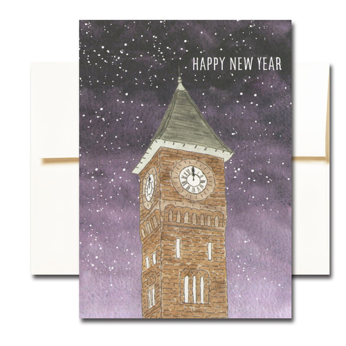 "Clock Tower New Year Note Card shows an illustration of a 19th century railroad station clock tower against a midnight sky and the words ""Happy New Year"""