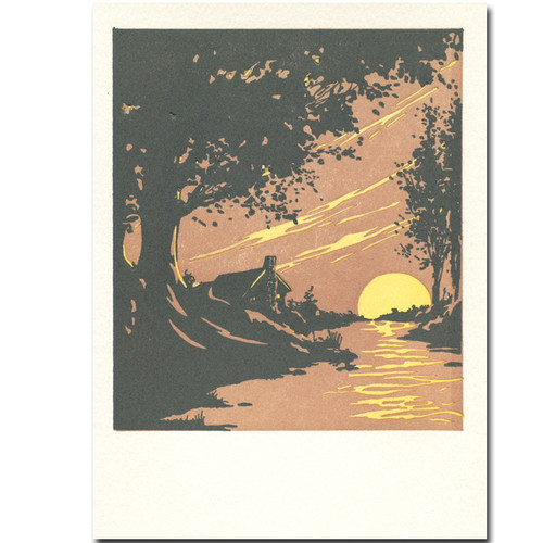 Saturn Press letterpress River Cabin card shows a cabin on a river with the reflection of the rising moon
