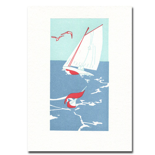 Saturn Press letterpress card, Regatta