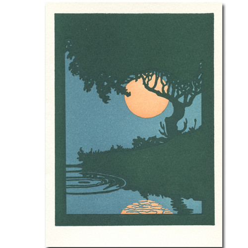 Summertime: Saturn Press letterpress card features a summer moon shining through the trees and reflecting in the river