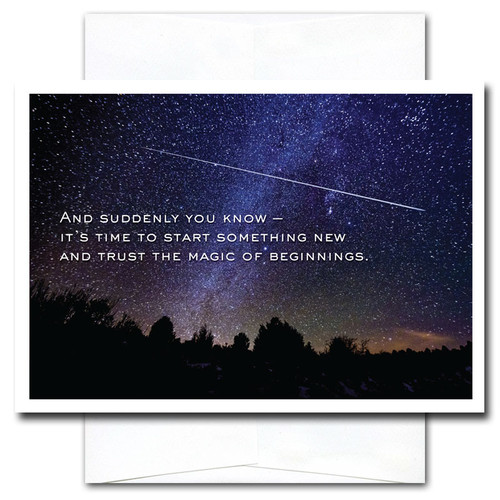 New Year Card: Beginnings cover photo of the night sky with a shooting star and the quotation: And suddenly you know - it's time to start something new and trust the magic of beginnings.