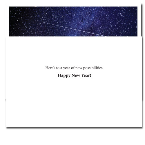 Beginnings New Year Card inside reads, Here's to a year of new possibilities. Happy New Year!