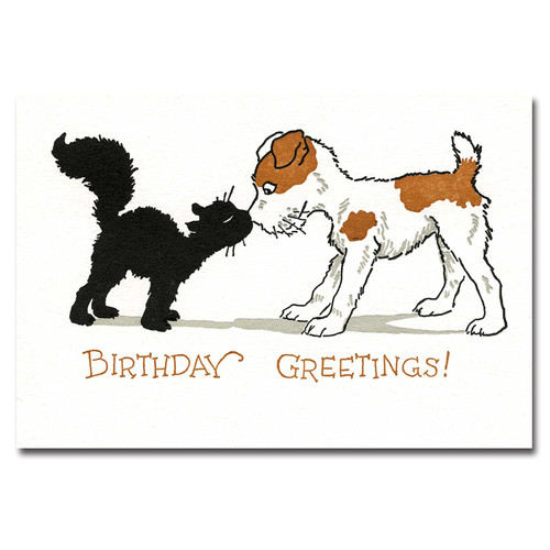 "Saturn Press Birthday greeting card with letterpress drawing of cat and dog with the words ""Birthday Greetings"""