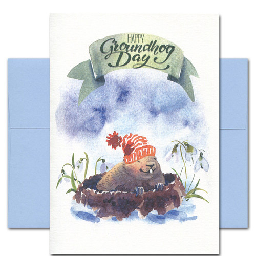 Groundhog Day card has hand-painted watercolor illustration of groundhog emerging from winter burrow
