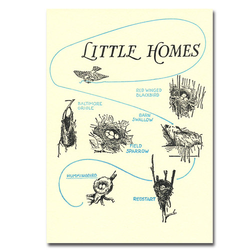 Little Homes letterpress card showing drawings of different wild birds' nests