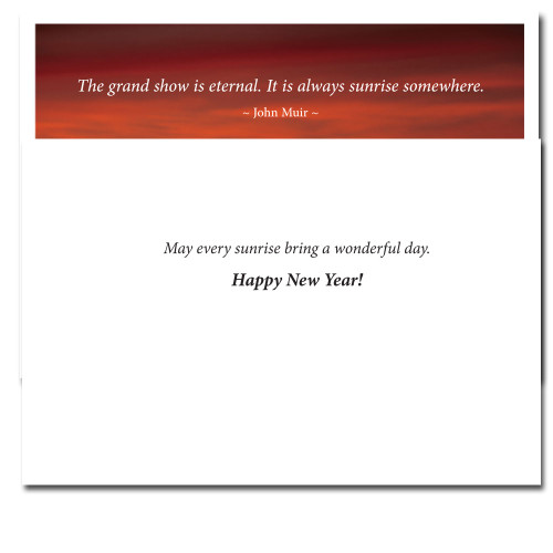 Grand Show New Year card inside reads: May every sunrise bring you a wonderful day. Happy New Year!