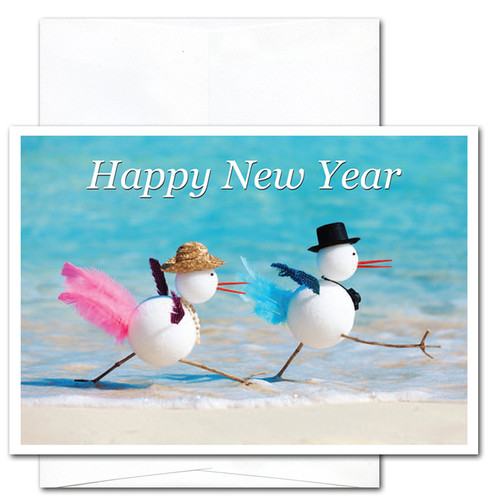 Snowbirds New Year Card - cover shows two snowbirds walking along the beach and the words Happy New Year