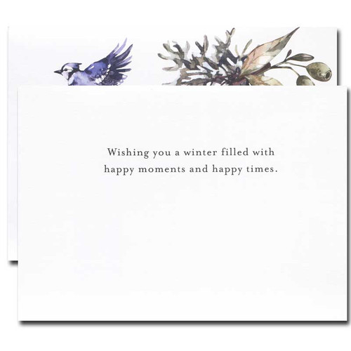 Blue Jays Holiday Card inside reads: Wishing you a winter filled with happy moments and happy times