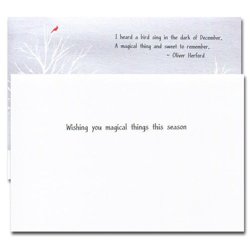 I Heard a Bird Sing Holiday Card. Inside reads: Wishing you magical things this season