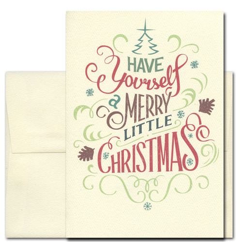 Merry Little Christmas Holiday Card - Hand lettered vintage-style design that reads, Have Yourself a Merry Little Christmas