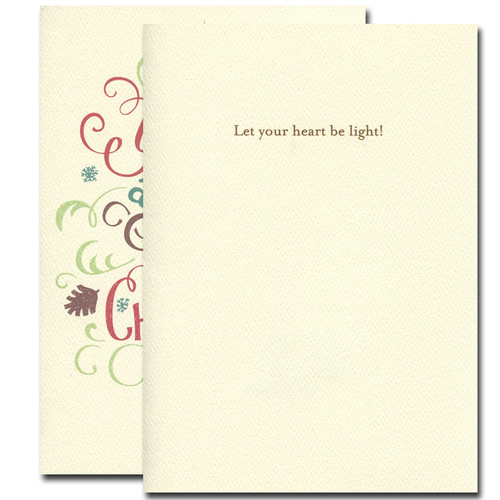 Merry Little Christmas Holiday Card. Inside reads: Let your heart be light!