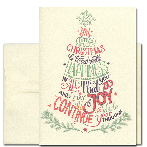 Filled with Happiness Holiday Card has a hand-lettered vintage-style design. Greeting reads: May this Christmas be filled with happiness in all that you do and may this joy continue the whole year through