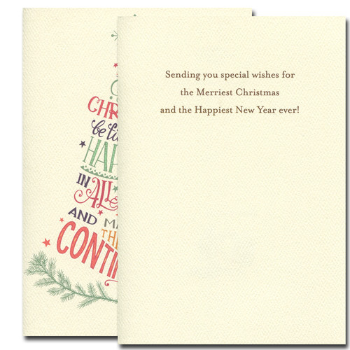 Filled with Happiness Card. Inside reads: Sending you special wishes for the Merriest Christmas and the Happiest New Year ever!