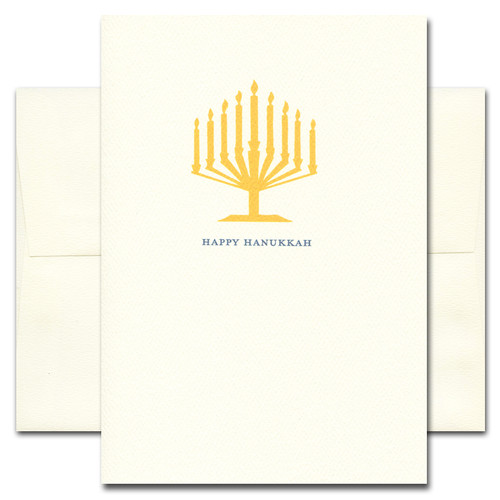 Hanukkah Card - Golden Light features an illustration of a menorah and the words Happy Hanukkah