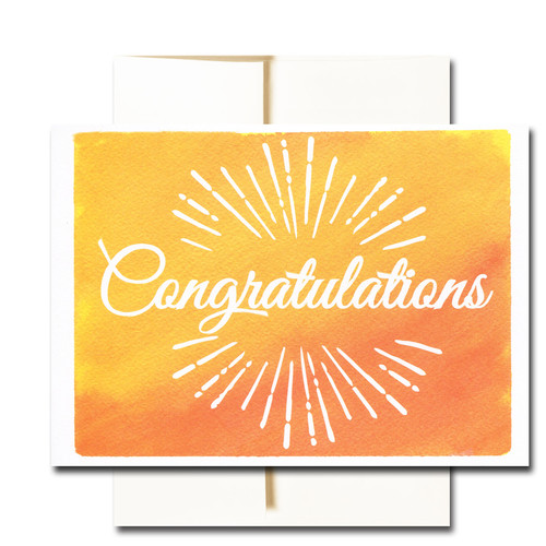 "Business Congratulations Note Card - Sunburst has the word ""Congratulations"" surrounded by a sunburst on a hand-painted watercolor background"