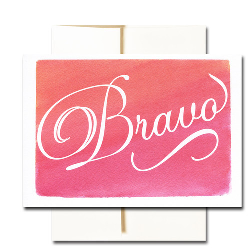 "Business Congratulations Note Card - Bravo has the word ""Bravo"" in script on a colorful hand-painted watercolor background"