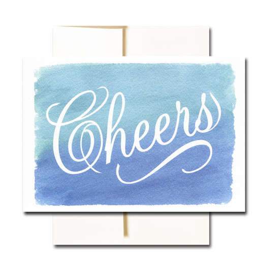 "Business Congratulations Note Card - Cheers has the word ""Cheers"" in script on a colorful hand-painted watercolor background"