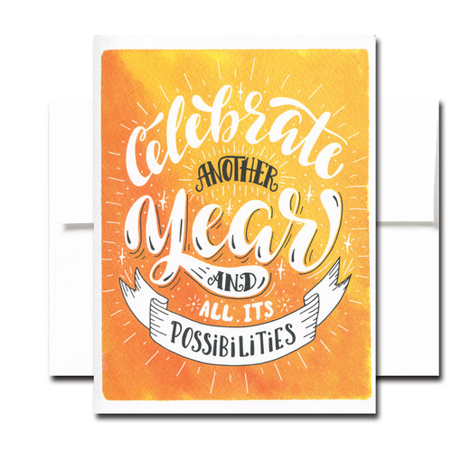 "Boxed Birthday Card - Another Year has a hand-lettered design and the words ""Celebrate Another Year and All Its Possibilities"""