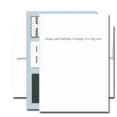 Boxed Birthday Card - Big Day inside reads Hope your birthday is happy in a big way