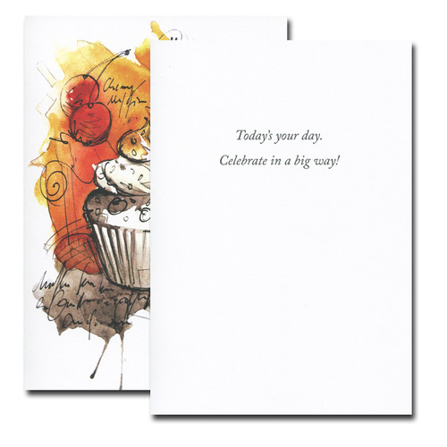 Boxed Birthday Card - Cherry Cupcake Junior inside reads: Today's your day. Celebrate in a big way!