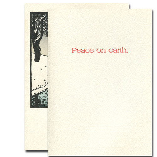 """Inside Snow Stream Letterpress Holiday Card greeting reads, """"Peace on Earth"""""""