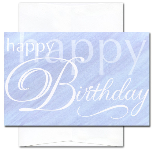 Happy Happy Birthday card cover has white text on a blue watercolor background