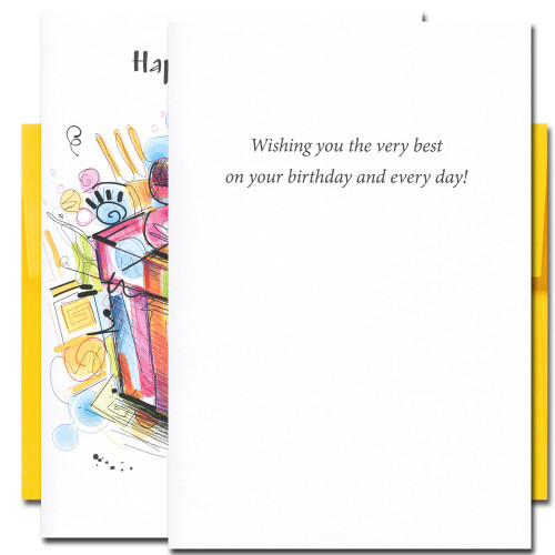The Very Best Birthday Card: inside reads: Wishing you the very best on your birthday and every day