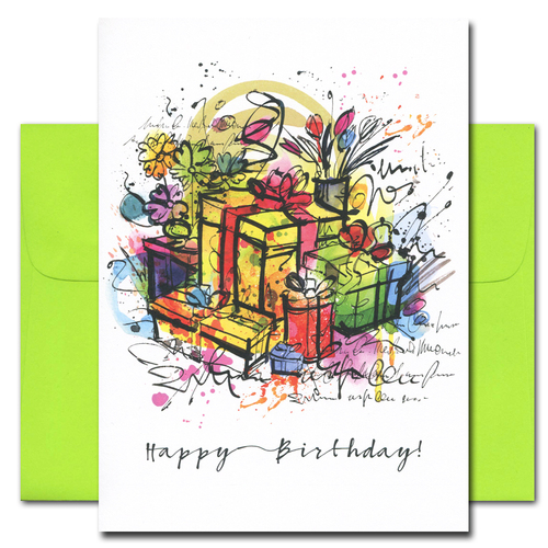 Birthday Card: Birthday Bash has a multi-color abstract drawing of wrapped presents and the words Happy Birthday. Inside of cards reads: Hope you enjoy every minute of your day!