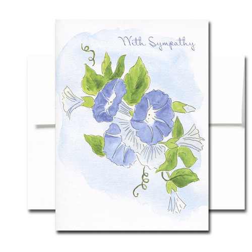 Sympathy Note Card - Morning Glory: Cover has an illustration of morning glories and the words With Sympathy