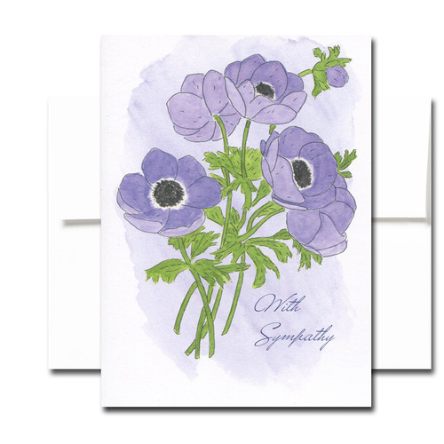 Sympathy Card - Anemone. Cover has a watercolor illustration of purple anemones and the words With Sympathy