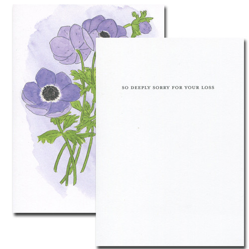 Inside of Anemone Sympathy Card reads: So deeply sorry for your loss